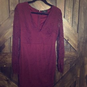 Deep red lace cocktail dress
